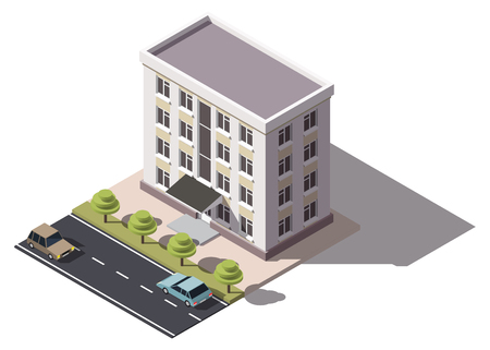 Public residential building isometry. Isometric view of the house and cars. 3D object for video games or real estate advertising. For Your business. Vetor Illustration Banque d'images - 114085622
