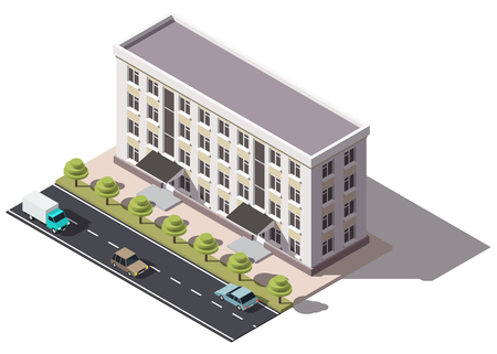 Public residential building isometry. Isometric view of the house and cars. 3D object for video games or real estate advertising. For Your business. Vetor Illustration Banque d'images - 114085623