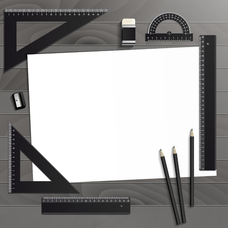 Workplace art board, paper, ruler, protractor, pencils, eraser and sharpener realistic plastic on a wooden background Illustration