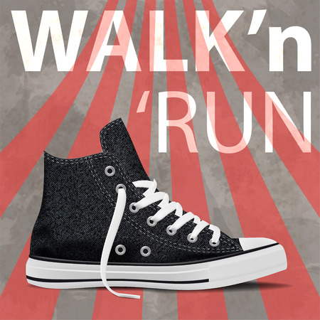 Walk and run concept modern art sneakers. Youth sneakers poster for Your business project. Vector Illustration Иллюстрация