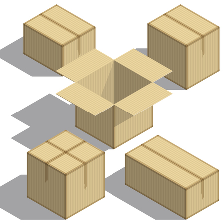 Packing boxes Isometry set on white background. Design element. For Your business project. Vector Illustration Vettoriali