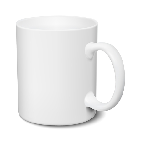 White mug realistic 3D mockup on a white background vector illustration
