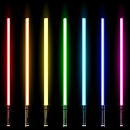 lightsaber, Light Swords Set. Colourful Lasers. Design Elements for Your Business Projects. Vector illustration. Ilustração