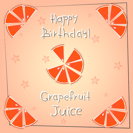 postcard happy birthday grapefruit juice Çizim