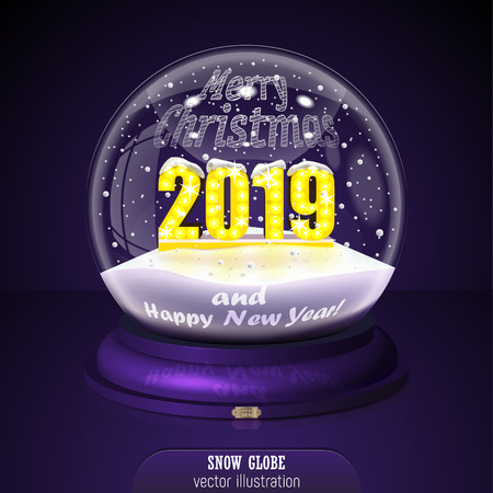 2019 yellow Snow globe on violet background. Merry Christmas and Happy New Year 2019. Realistic christmas snow globe 2019 for Your business project. 2019 Vector Illustration
