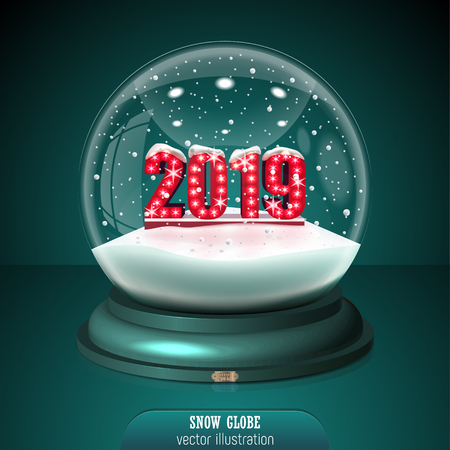 2019 Snow globe on green background. Merry Christmas and Happy New Year 2019. Realistic christmas snow globe 2019 for Your business project. 2019 Vector Illustration