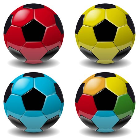 Football, soccer ball set isolated on white background. Soccer football ball 3D realistic object for your business project. Football soccer ball Vector Illustration