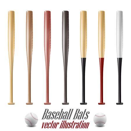 Baseball and baseball bats set isolated on white background. Vector Illustration