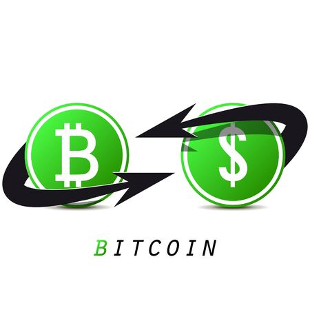 Bitcoin and dollar on white background. Currency exchange for Your business project. Black and green bitcoin. Vector Illustration Stock Illustratie