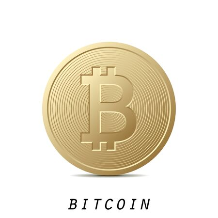 Bitcoin icon isolated on white background. Design element for Your business project. Golden bitcoin. Vector Illustration