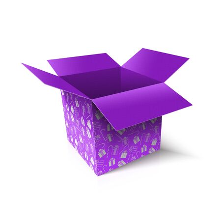 Christmas open box. New Year gift concept. Vector Illustration