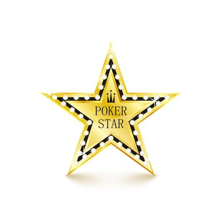 Golden star with diamonds on white background. Poker concept. Vector Illustration Illustration