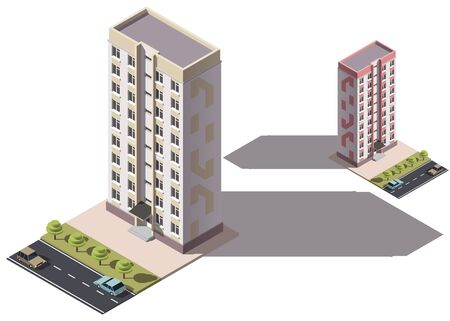 Public residential nine-storey building isometry. Isometric view of the house and cars. 3D object for video games or real estate advertising. For Your business. Vetor Illustration Banque d'images - 129443135