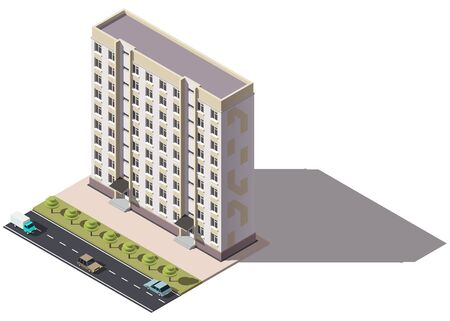 Public residential nine-storey building isometry. Isometric view of the house and cars. 3D object for video games or real estate advertising. For Your business. Vetor Illustration