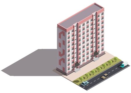 Public residential nine-storey building isometry. Isometric view of the house and cars. 3D object for video games or real estate advertising. For Your business. Vetor Illustration Banque d'images - 129443133