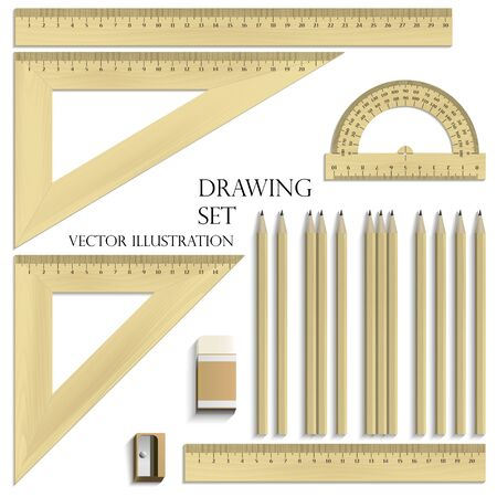 Drawing Set, ruler, protractor, pencils, eraser and sharpener realistic wood