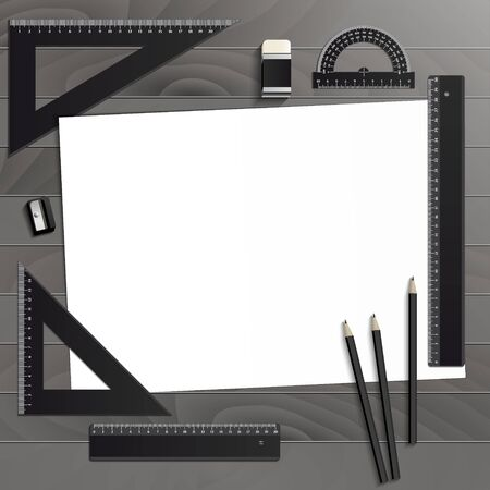 Workplace art board, paper, ruler, protractor, pencils, eraser and sharpener realistic plastic on a wooden background Ilustrace