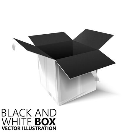 Black and white open box 3D/ vector illustration, design element