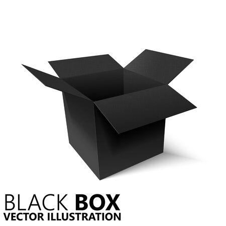 Scatola nera aperta 3D/illustrazione vettoriale, elemento di design