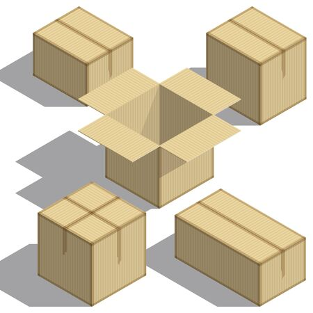 Packing boxes Isometry set on white background. Design element. For Your business project. Vector Illustration  イラスト・ベクター素材