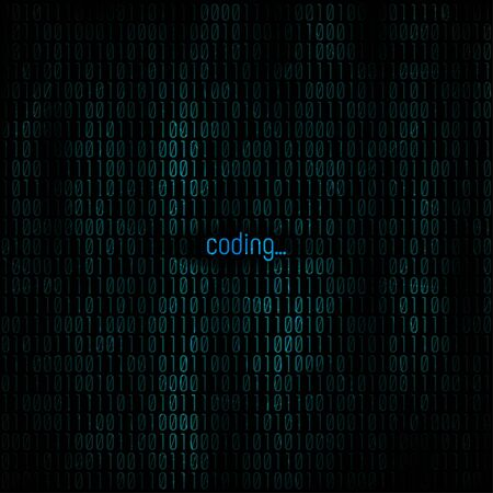 Coding abstract background.  binary code for Your business project background. Programming background. Vector Illustration