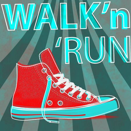 Walk and run concept modern art sneakers. Youth sneakers for Your business project. Vector Illustration Иллюстрация
