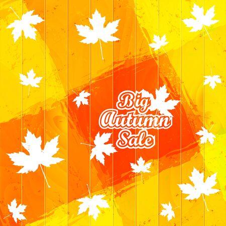 Big Autumn Sale Autumnal Maple Leaf on a wooden background