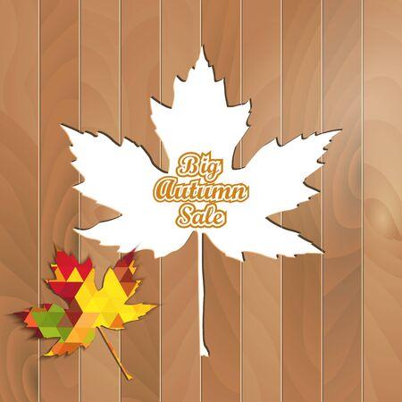 Big Autumn Sale Autumnal Maple Leaf triangle on a wooden background Ilustrace