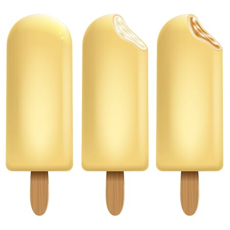 Ice cream chocolate set on white background for Your business project. Realistic Snacks for ice cream from milk. Ice lolly. Vector Illustration