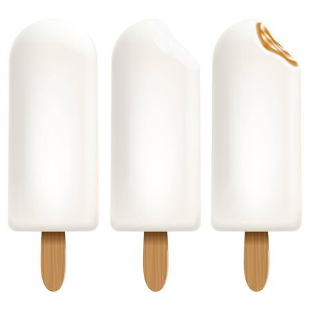 Ice cream set on white background for Your business project. Realistic Snacks for ice cream from milk. Ice lolly. Vector Illustration