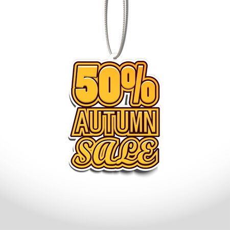 50% Autumn Sale. Sale Tags Design. Vector Illustration  イラスト・ベクター素材