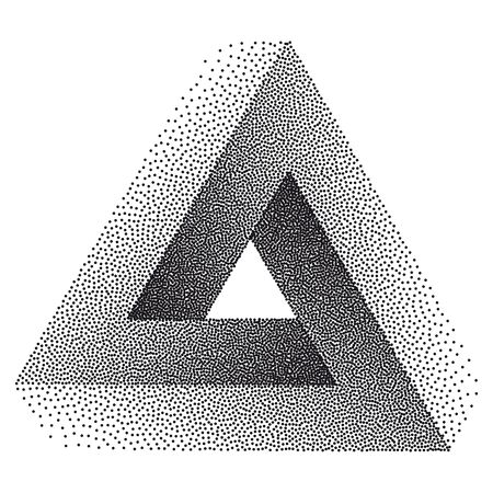 Infinity or Impossible Triangle. Penrose triangle with Black Dots. Unreal geometrical symbol for Your Business project. Pointillism. Vector Dotwork Illustration