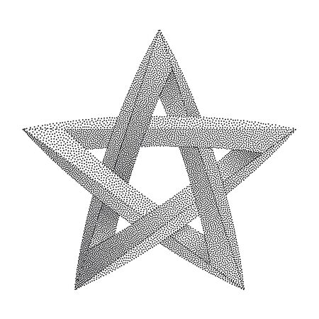 Impossible star with Black Dots. Impossible star on white background. Unreal geometrical symbol for Your Business project. Vector Dotwork Illustration