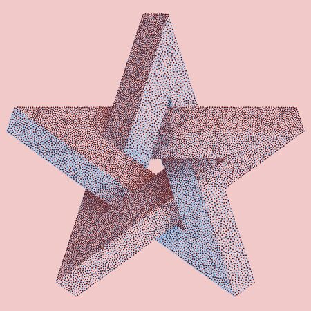 Impossible star with Black Dots. Impossible star on pink background. Unreal geometrical symbol for Your Business project. Vector Dotwork Illustration Ilustração