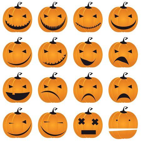 Halloween, pumpkin Jack smile set