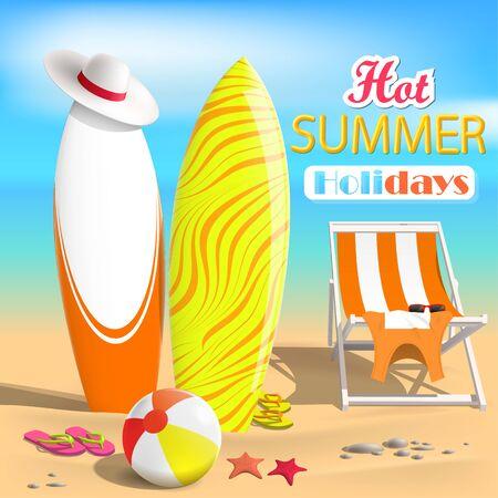 Summer. Surfboards and beach ball. Sea. 3D Vector Illustration Иллюстрация