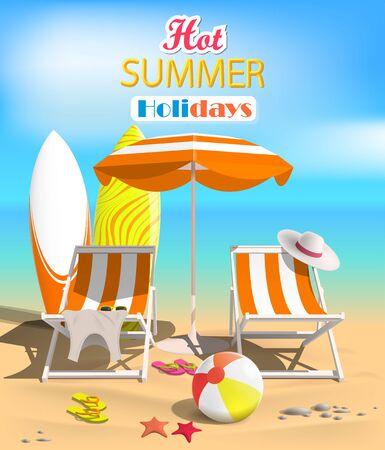 Summer. Surfboards and beach ball. Sea. Recliner. Vector Illustration