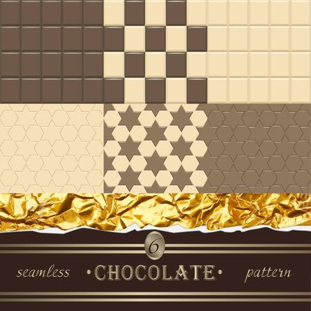 Chocolate. 6 seamless patterns. Vector Illustration