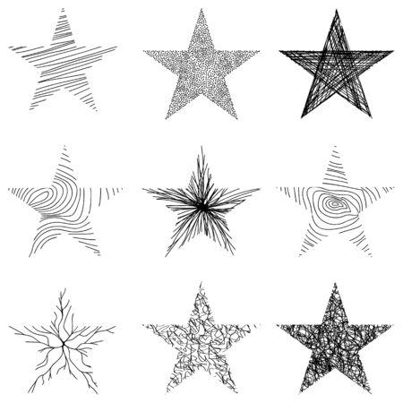 Hand-drawn sketch stars design. Vector illustration