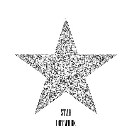 Star dotwork. Hipster style. Vector Illustration