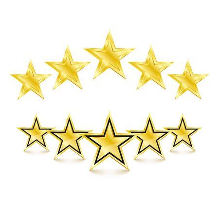 5 golden stars on white background. Vector Illustration