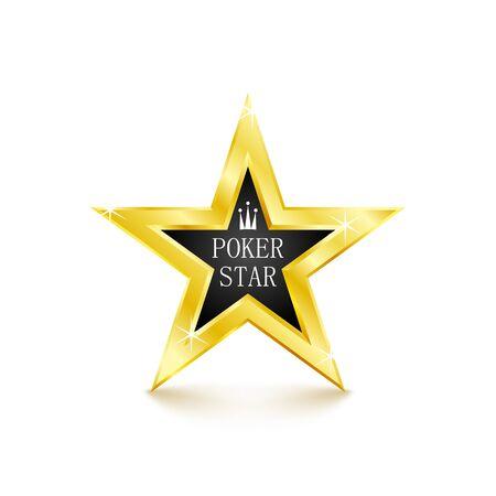 Golden star on white background. Poker concept. Vector Illustration
