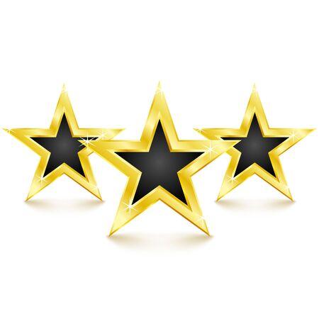 Golden star on white background. Vector Illustration