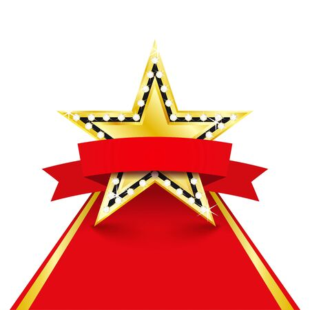 Golden star with diamonds on the red carpet. Success concept. Vector Illustration