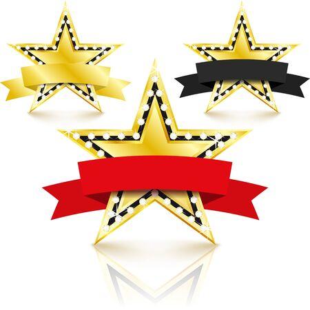 Golden stars set with diamonds set on white background. Success concept. Vector Illustration