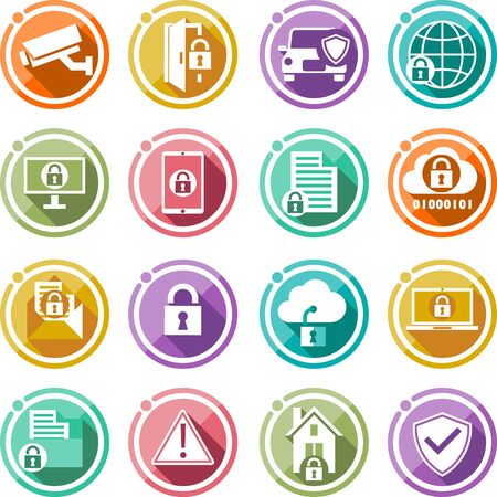 Security icons set. Flat icons for Your business data protection technology and cloud network security. Vector Illustration icons Stock Illustratie
