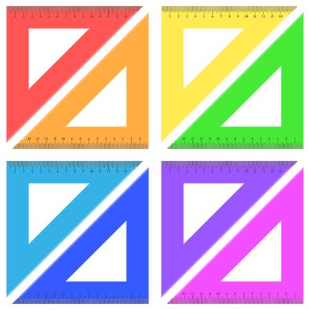 Ruler triangle of plastic transparent Ilustrace