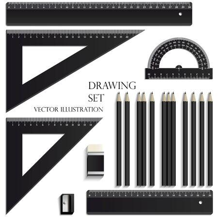 Drawing Set, ruler, protractor, pencils, eraser and sharpener realistic plastic Banco de Imagens - 129443305