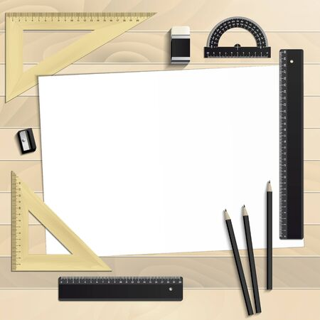 Workplace art board, paper, ruler, protractor, pencils, eraser and sharpener realistic plastic on a wooden background  イラスト・ベクター素材