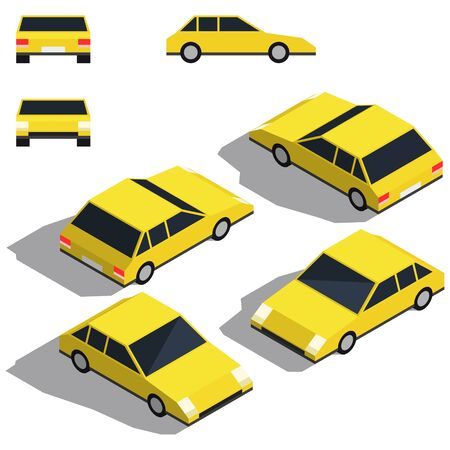 Car isometry. Low detailing isometric view of the cars. 3D object for Your business. Vetor Illustration